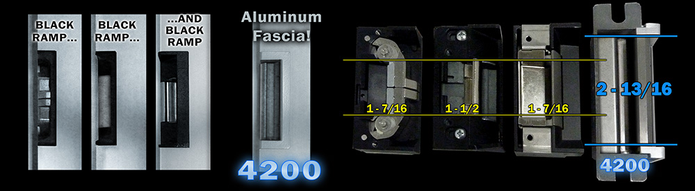 4200 comparison image to competitor strikes for latch height and fasci color